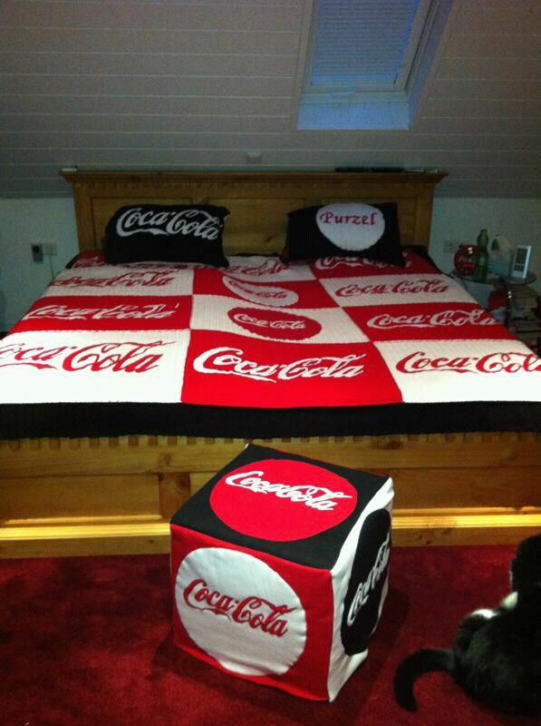 Coca Cola Crochet This Blanket And Pillow Cases The Letters Are Sewed On Out Of Fleece Fabric Took Forever To Make Stencils For Lettering