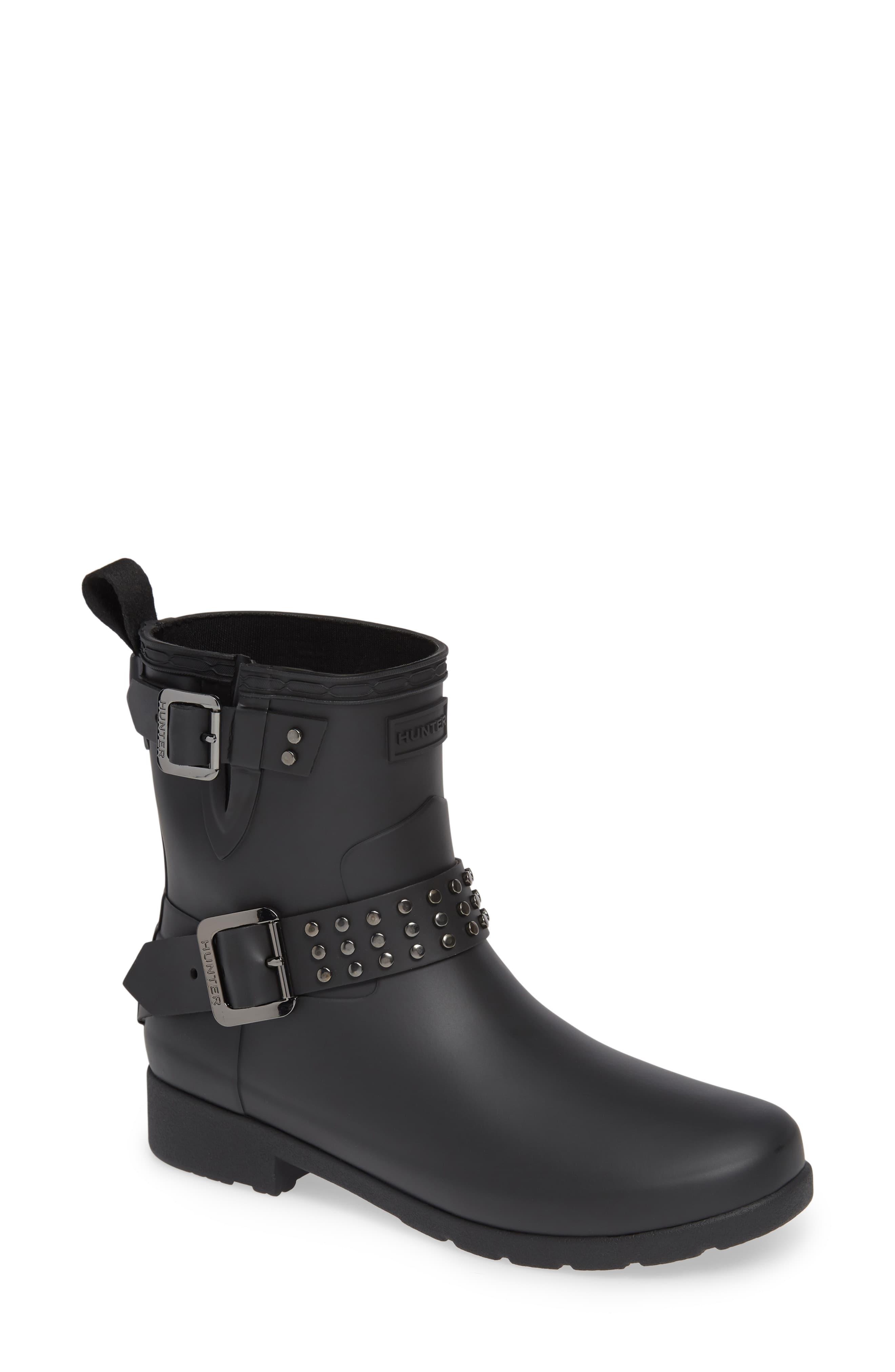 83c871e43f2 Women's Hunter Refined Stud Waterproof Biker Boot, Size 8 M - Black ...