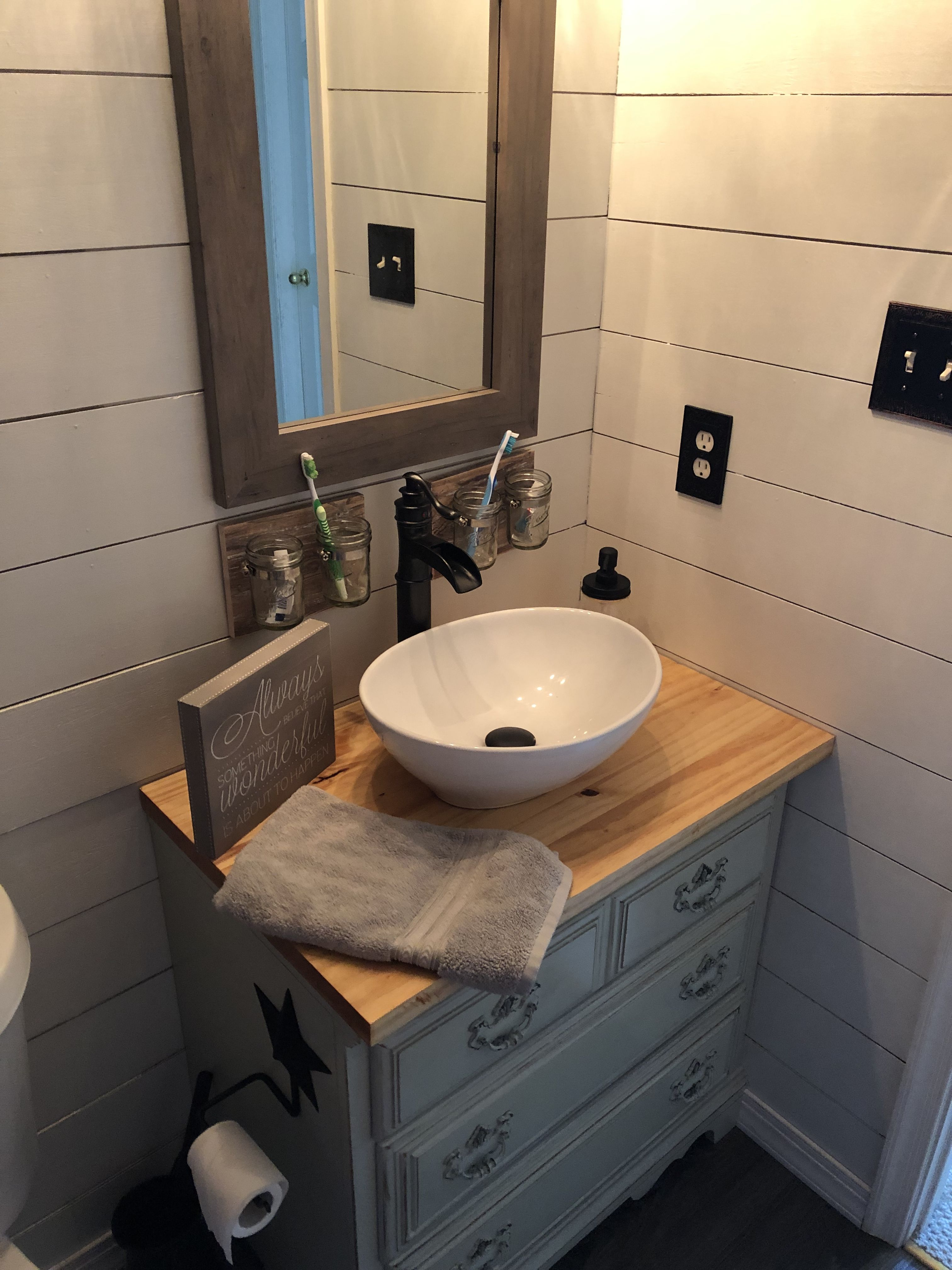 Diy Vanity With Vessel Sink Using Small Chest Of Drawers Vessel Sink Vanity Small Bathroom Vanities Small Vessel Sinks