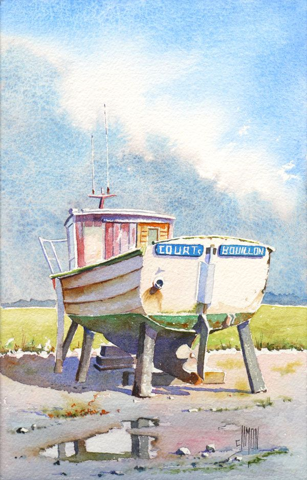 Aquarelle Dun Petit Bateau Normand Pas A Pas Plus Aquarelle Mer