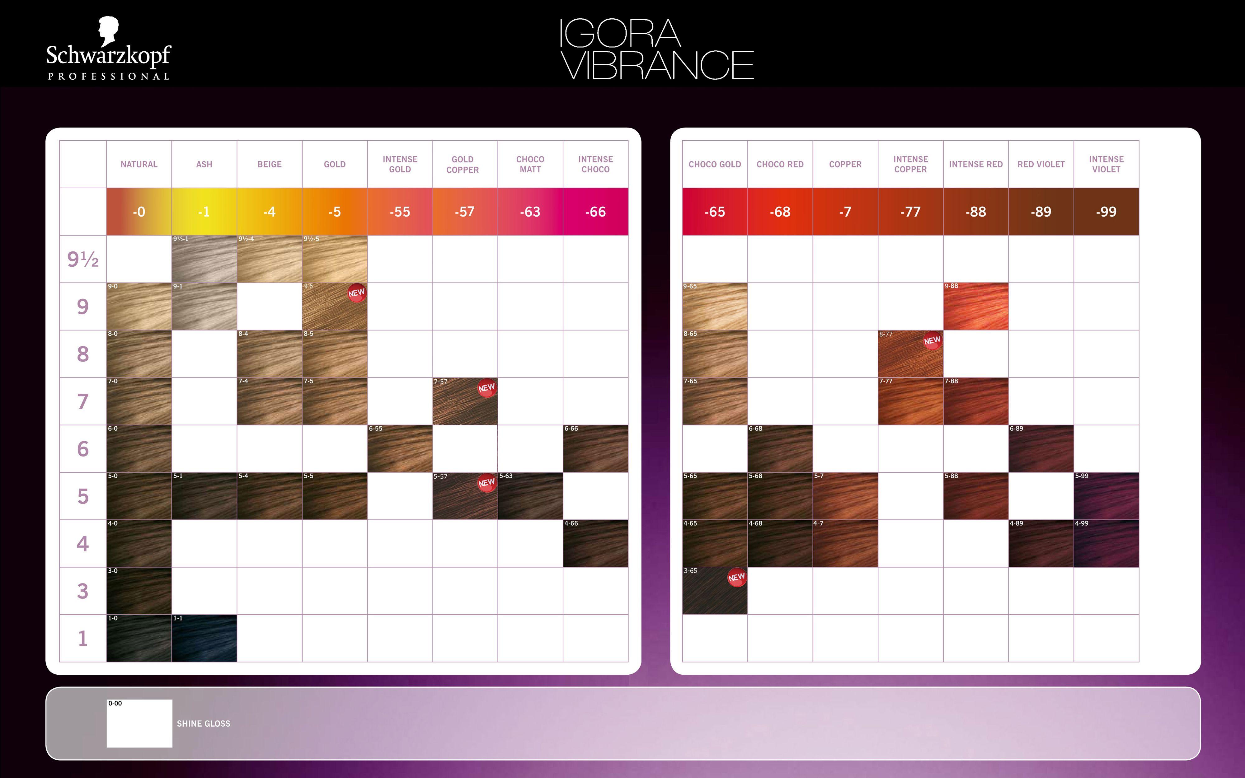 Schwarzkopf Professional IGORA Vibrance Color Chart 2014 ...