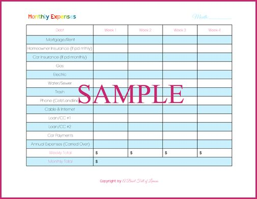 Comprehensive list n charts Monthly annual Expenses (Bills Due ...