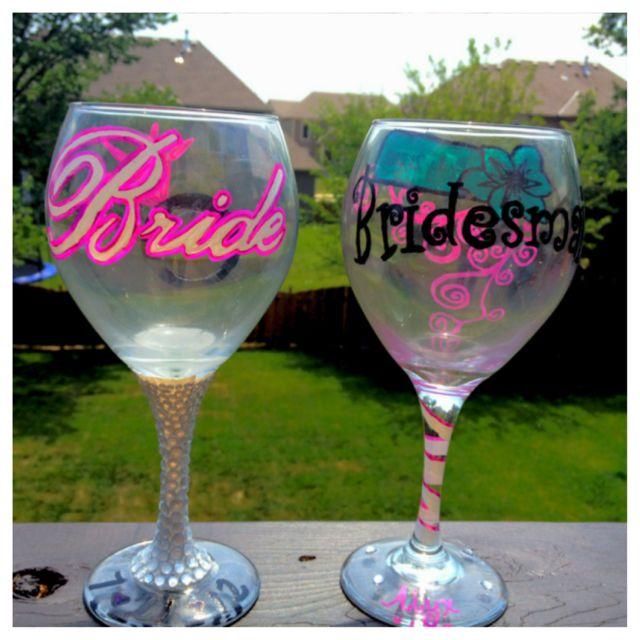 DIY Bride and Bridesmaid wine glasses #wineglass #bride #bridesmaid #wedding