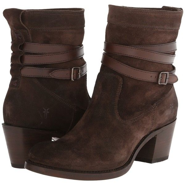 Frye Jane Strappy Short (Charcoal Oiled Suede) Cowboy Boots (230 AUD) ❤