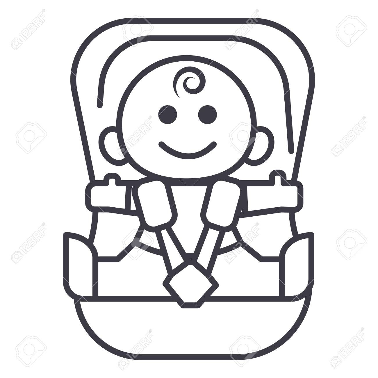 Baby In Car Security Chair Vector Line Icon Sign Illustration