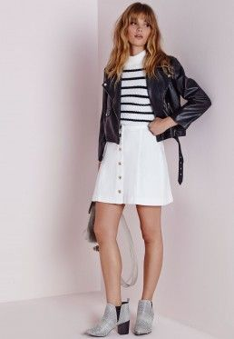 Button Through Denim Skirt White | My Wishlist -Skirts ...