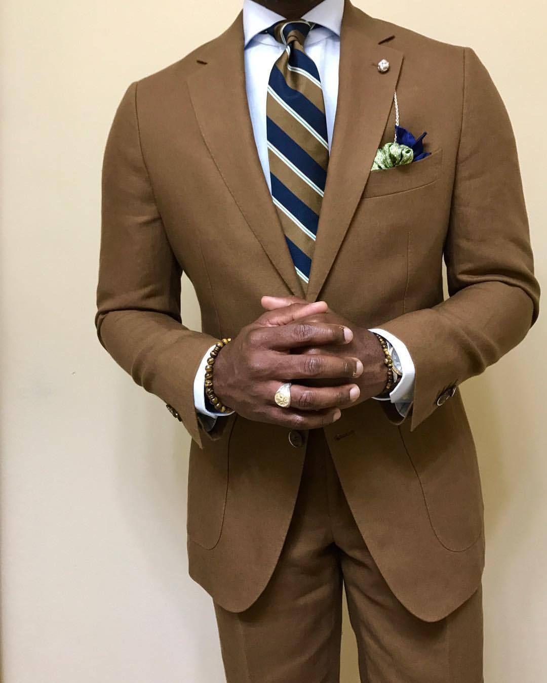 Light Brown Suit Light Blue Shirt Navy White Light Brown