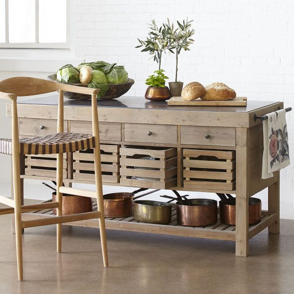 Natural Pine Kitchen Cabinets: Blue Stone-Topped Pine Kitchen Island - NEW