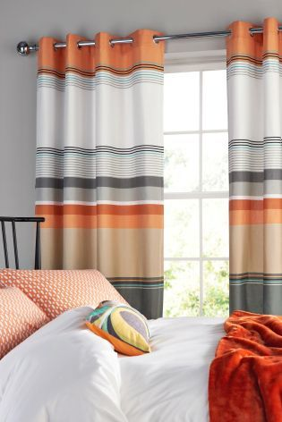 Curtains Ideas boys eyelet curtains : Buy Orange Stripe Eyelet Curtains from the Next UK online shop ...