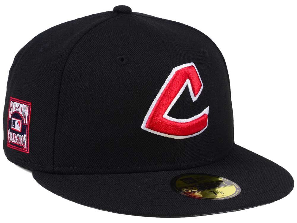 cc71a412e7a746 Cleveland Indians New Era MLB Black Cooperstown 59FIFTY Cap   Caps I ...