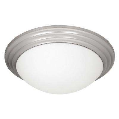 Strata 1-Light Brushed Steel LED Flushmount with Opal Glass Shade