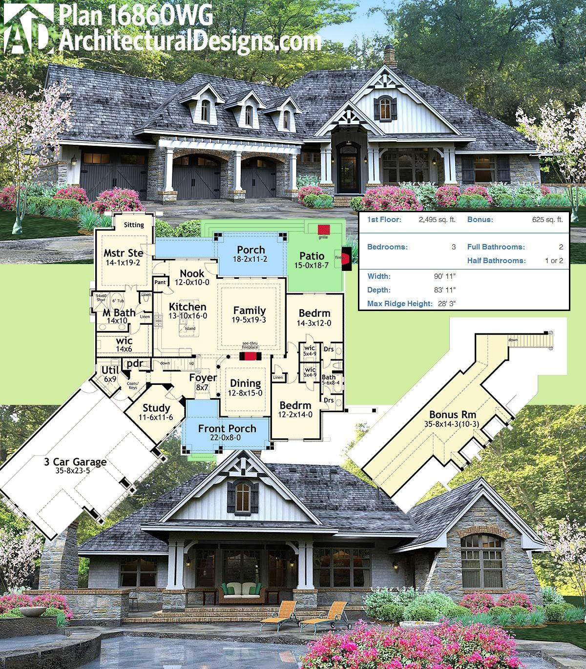 Architectural Designs Rugged Craftsman House Plan 16860WG