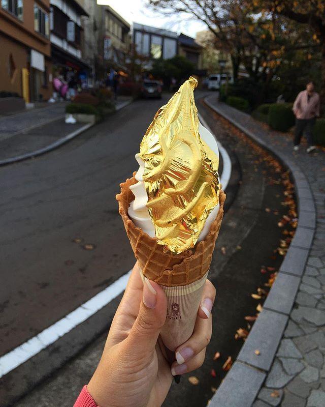 Gold-leafed ice cream