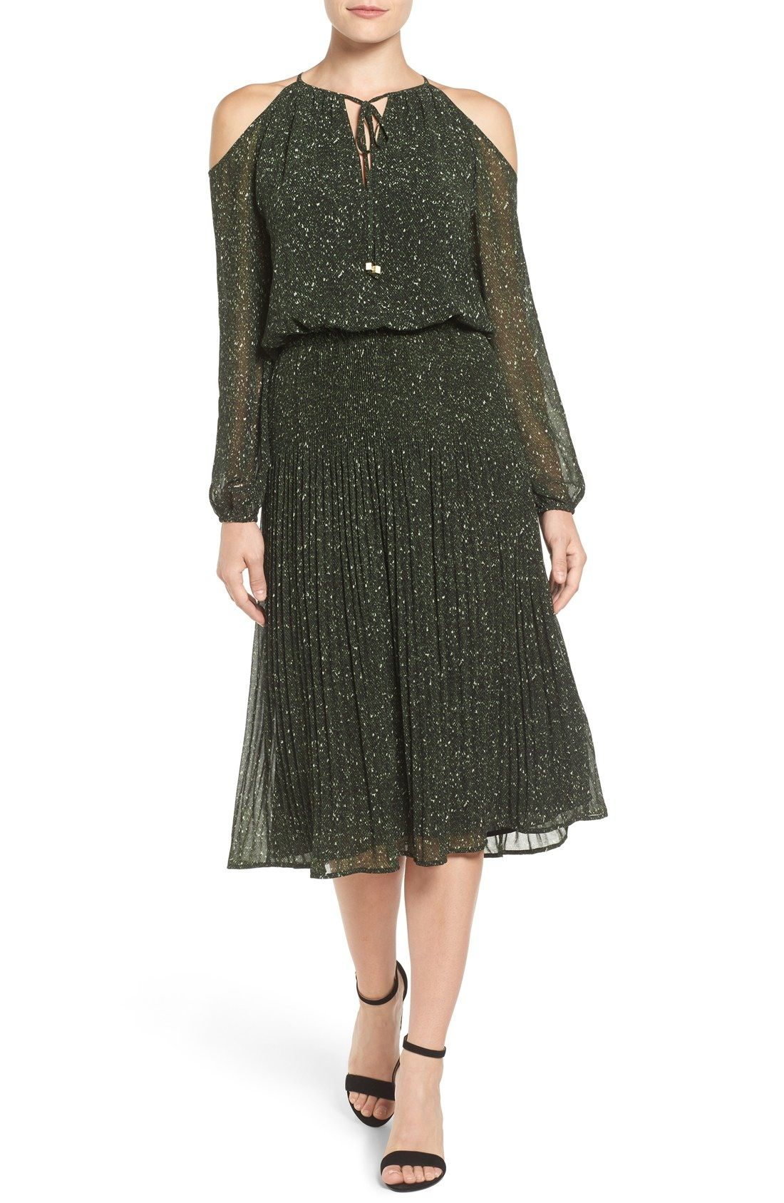 MICHAEL Michael Kors Tweed Print Cold Shoulder Pleat Chiffon Midi Dress available at #Nordstrom