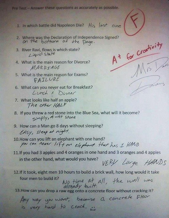 Photo of Funny Test Answers from Smart Ass Kids: Borderline Genius
