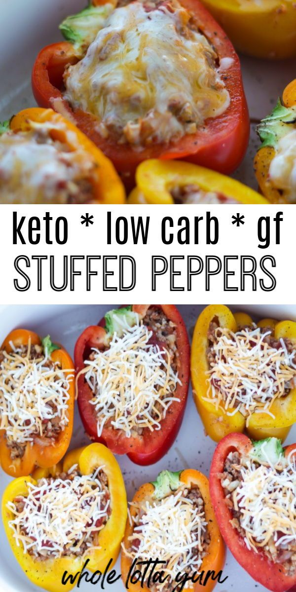 Low carb keto stuffed peppers with no rice that make and easy and healthy dinner. Stuffed with beef, cheese, and low carb vegetables, this is the ultimate healthy comfort food.