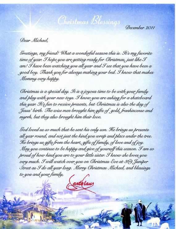 RELIGIOUS letter from Santa Claus - Personalized - Christmas Gift - letter greetings