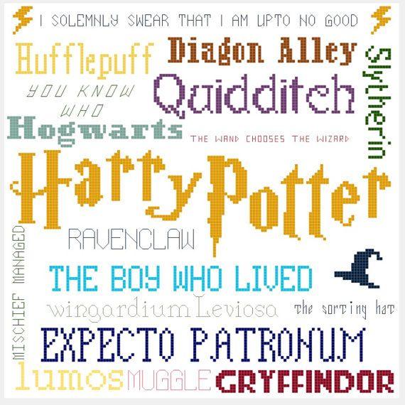 Harry Potter Collage Cross Stitch Pattern | Punto de cruz, Puntos y ...