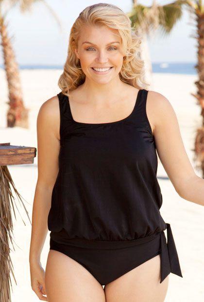 605f6e78df Beach Belle Punaluu Plus Size Blouson Tankini Top Women s Swimsuit «  Clothing Impulse
