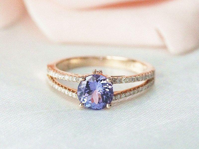 VS 6.5mm Round AAA Tanzanite Ring Split Shank Diamond Ring Solid 14K White Gold Engagement Ring Tanzanite Engagement Ring Dimond Pave Ring by DesignbyAria on Etsy https://www.etsy.com/listing/494498385/vs-65mm-round-aaa-tanzanite-ring-split