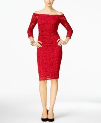 INC International Concepts Off-The-Shoulder Lace Sheath Dress, Only at Macy's | macys.com