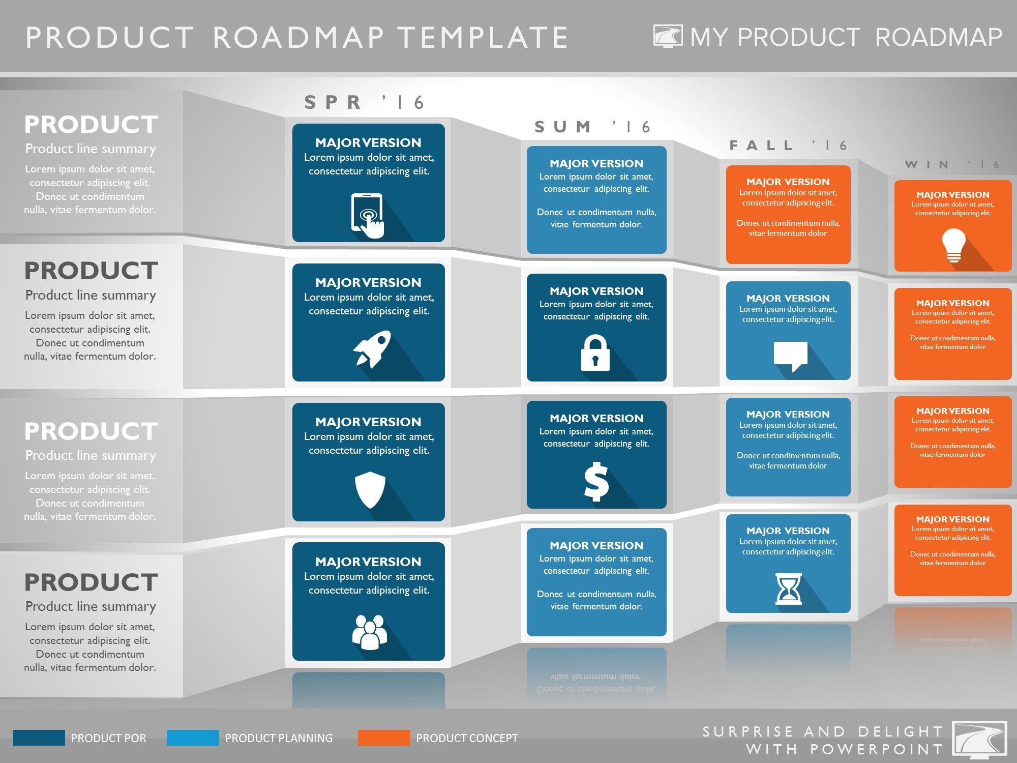 Four phase software planning timeline roadmap presentation for Powerpoint sitemap template