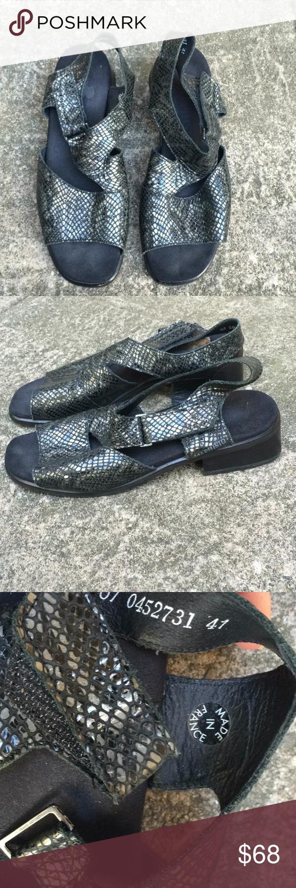 Mephisto snakeskin ankle strap sandals. Size 41/10 Genuine
