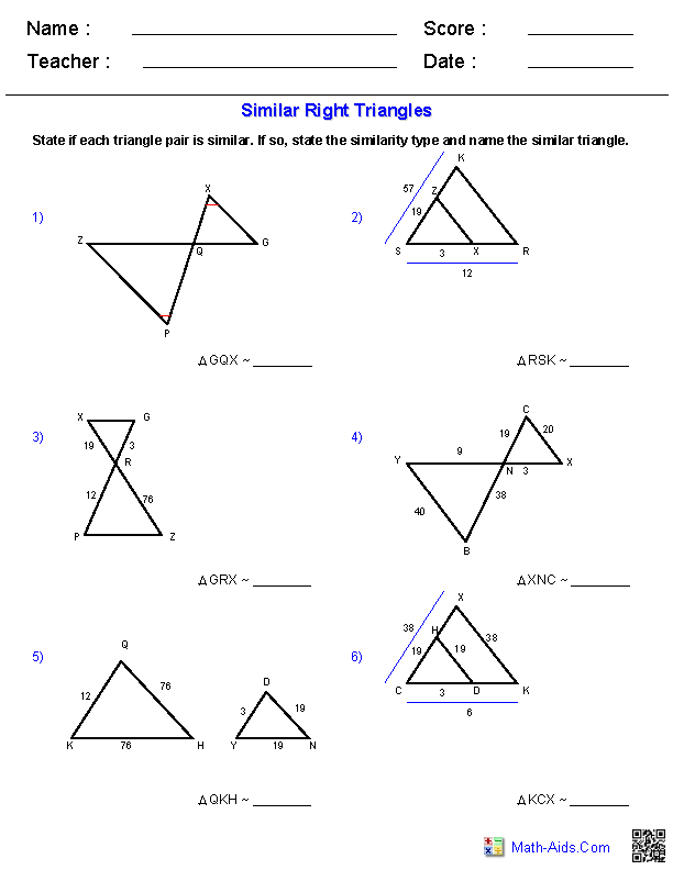 Similar Triangles Worksheets | Math | Geometry worksheets, Similar ...