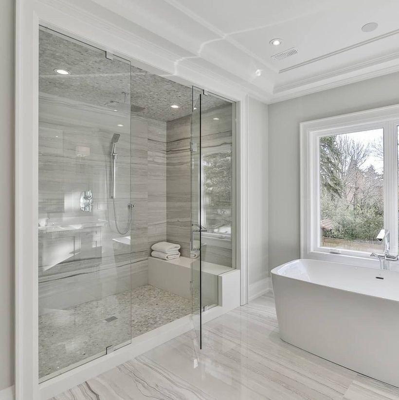 53 Lovely Master Bathroom Design Ideas In 2020 Modern Master Bathroom Bathroom Remodel Master Master Bathroom Design