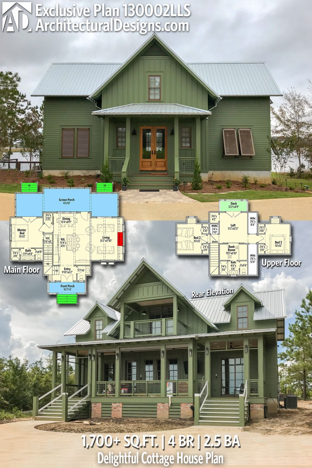 Love This But Bigger Front Porch Another Upstairs Bath And Mudroom Farmhouse House Cottage Homes House Plans