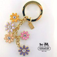 Gold Enamel Flower Key Chain Keychain Handbag Charms Diy Bag Charm