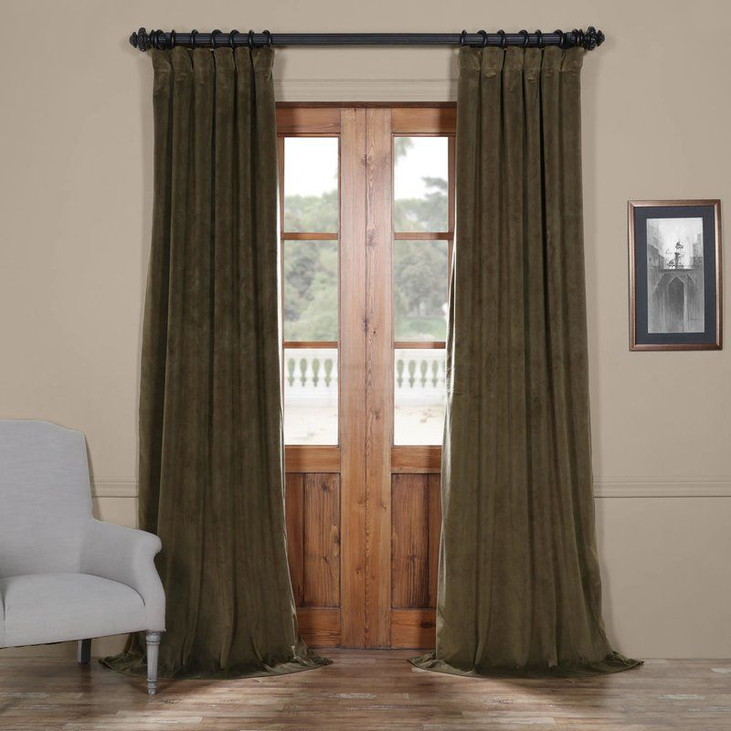 Albert Velvet Solid Blackout Thermal Rod Pocket Single Curtain