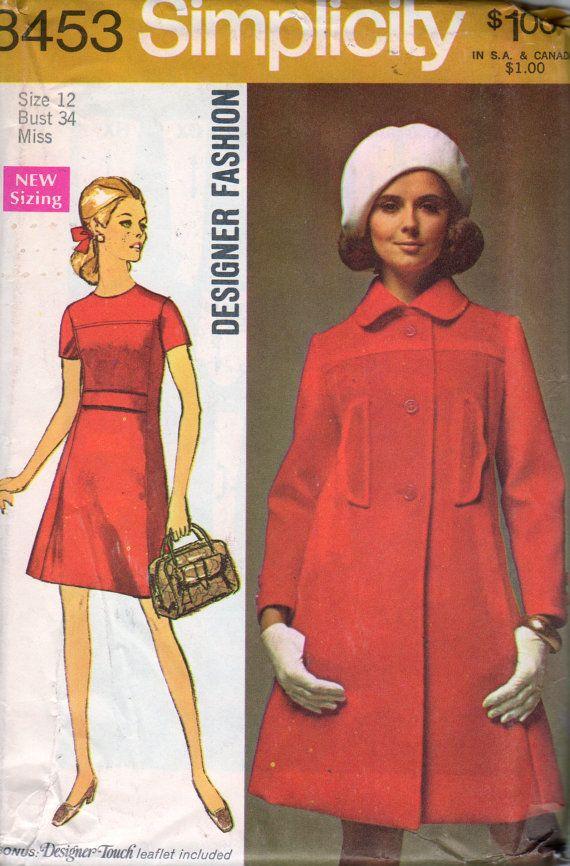 Simplicity 8453 1960s Misses Princess Dress And Coat