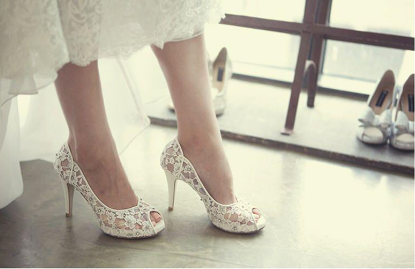 Fashion Fish Toe Ivory Lace High Heels Wedding Bridal Shoes S013