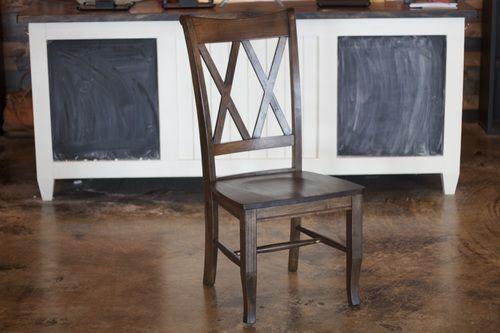Double X-Back Wood Dining Chair in Dark Walnut.