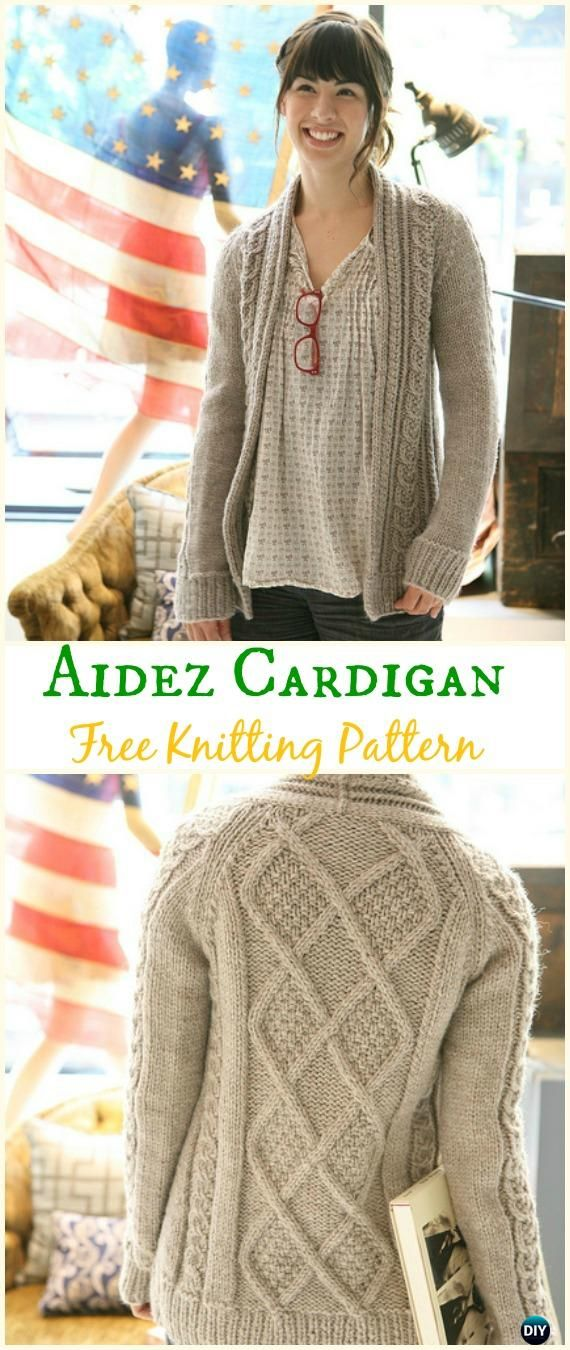 Women\'s Aidez Cardigan Sweater Free Knitting Pattern - Knit Women ...