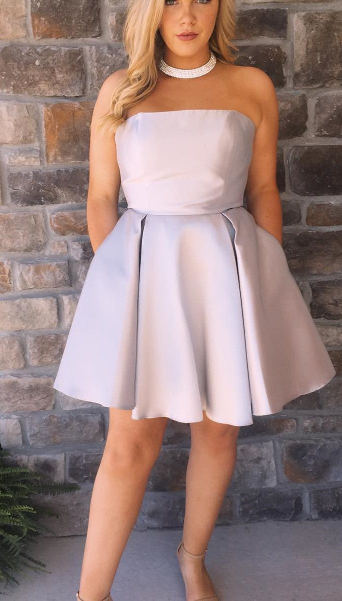 Strapless short silver homecoming dress with pockets prom dresses