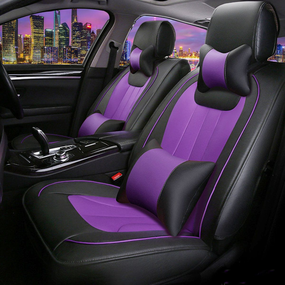 Black Purple Car Seat Cover Pu Leather 5 Seats Full Set Front Rear Auto Cushion Car Seatcovers Pur Purple Car Leather Car Seat Covers Car Seat Cover Sets