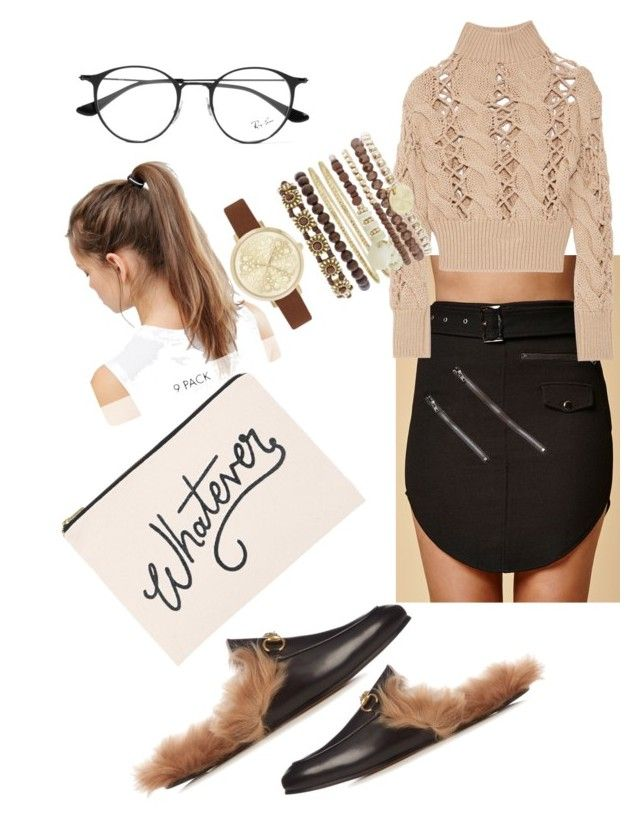 """Untitled #156"" by xheniii ❤ liked on Polyvore featuring Gucci, ALPHABET BAGS, Selfie Leslie, MM6 Maison Margiela, Ray-Ban, NIKE and Jessica Carlyle"