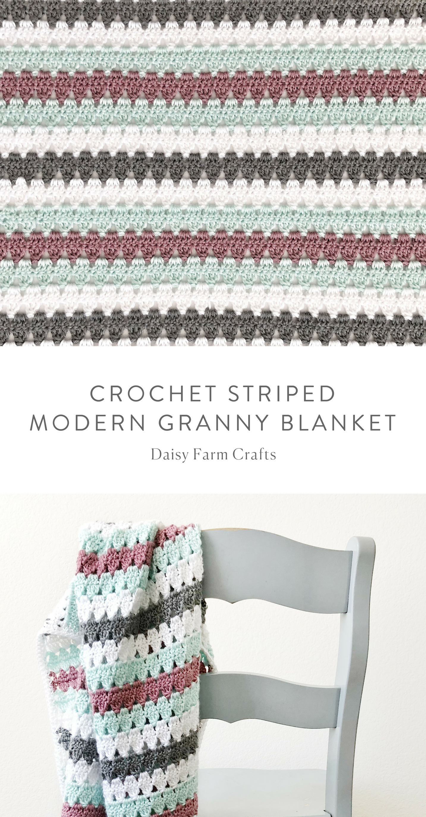 Free Pattern - Crochet Striped Modern Granny Blanket #crochet ...