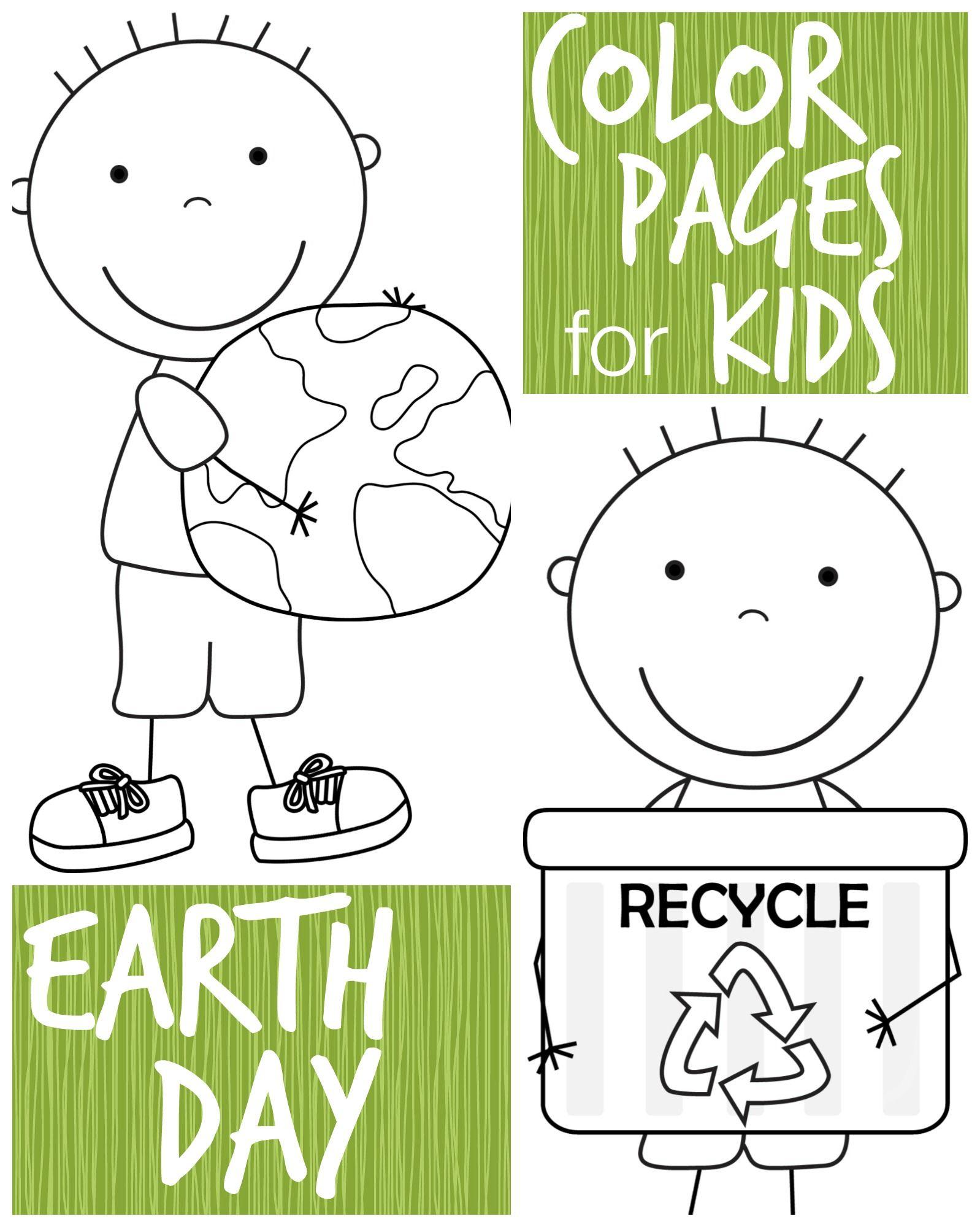 Kid Color Pages: Earth Day for Boys | Colegios, Reciclaje y Aula