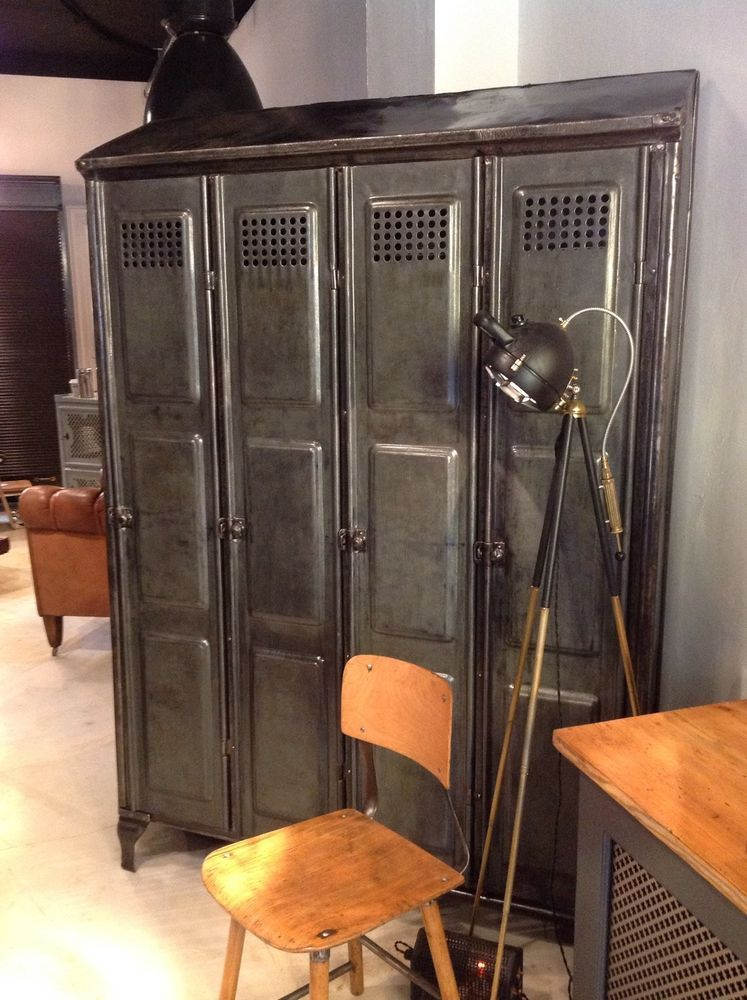 industriedesign loft metallschrank spind werkstatt garderobe stahl schrank ebay design. Black Bedroom Furniture Sets. Home Design Ideas