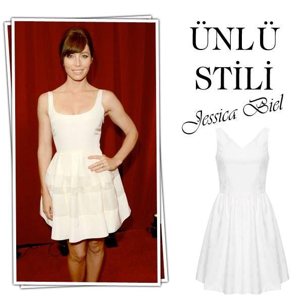 Ünlü Stili: Jessica Biel, Tatil valizinin vazgeçilmezi, bronz tene çok yakışacak beyaz bir elbise!  #Buyaka #Mudo #ÜnlüStili #Öneri #Beyaz #Yaz #Stil #BuyakaBiBaşka