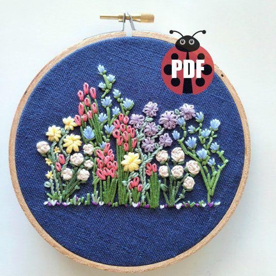 Hand embroidery pattern flower hoop