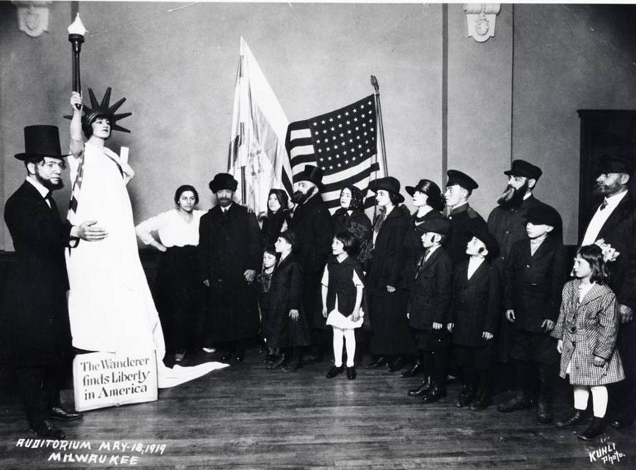 """1919.  Golda Meir (as the Statue of Liberty) at competition in """"Workers of Zion"""""""