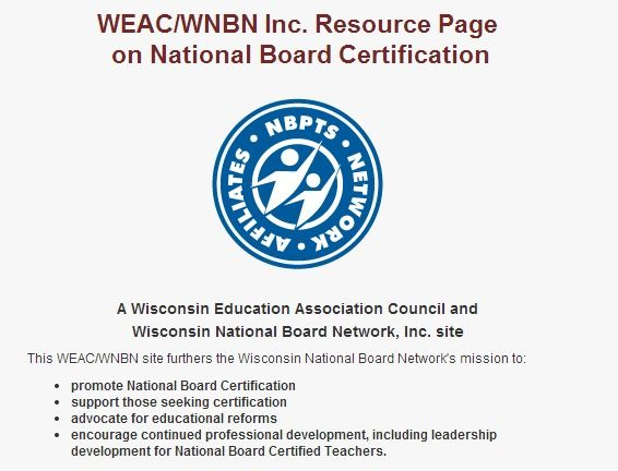 WEAC - support for National Board Certification   National Board ...