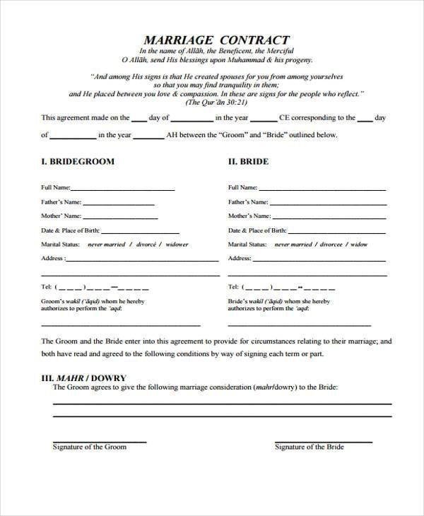 Marriage Contract Sample - 33 Marriage Contract Templates Standart