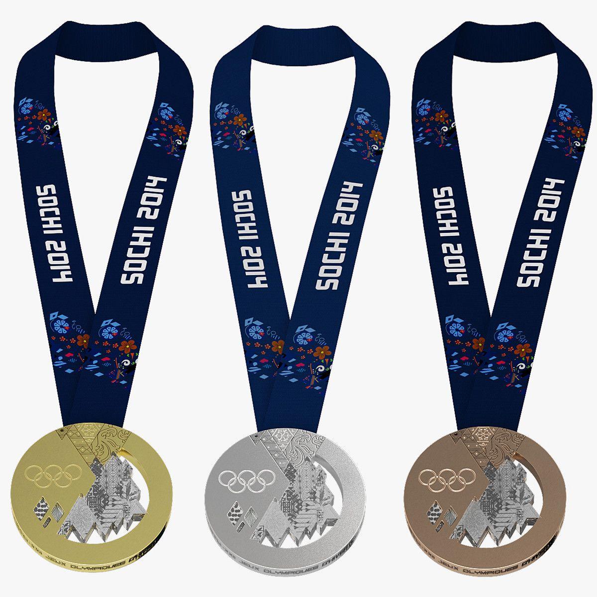 3d Olympic Medals Sochi Model