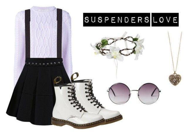 """Suspenders Love"" by the-gah-gurl ❤ liked on Polyvore featuring Christopher Kane, Express, Dr. Martens, Accessorize and Monki"