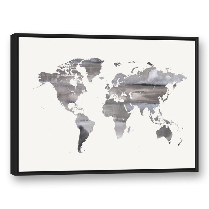 White world map framed watercolor painting print on canvas white world map framed watercolor painting print on canvas gumiabroncs Image collections